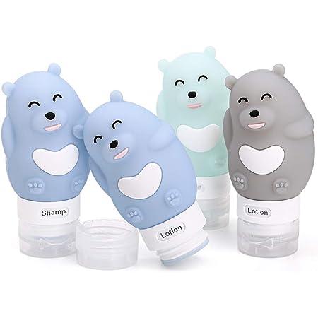 CHSEEO 4 Pezzi Bottiglie da Viaggio in Silicone Contenitori da Viaggio Cosmetici Set di Flaconi da Viaggio Accessori da Viaggio Aereo per Shampoo Balsamo Crema Lozione # 2