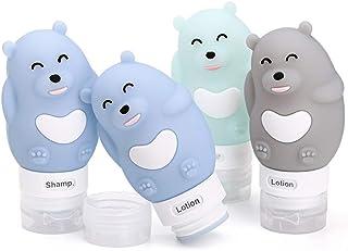 MUUZONING Botellas de Viaje de Silicona100% BPA Gratis Recipientes rellenables portátiles a Prueba de Fugas para champúA...