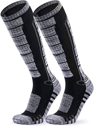 TSLA Men and Women Winter Ski Socks, Calf Compression Snowboard Socks, Warm Thermal Socks for Cold Weather, 2pairs(mzs82) - Black & Grey/Black & Grey, Large