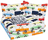 AmazonBasics Easy Care Super Soft Microfiber Kid's Bed-in-a-Bag Bedding Set - Full / Queen, Multi-Color Racing Cars