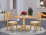 East West Furniture DLVA3-OAK-C 3-Pc dining room table set Oak finish- Two 9-inch Drops Leave and Pedestal Legs dining table & 2 Slatted Back dining chairs