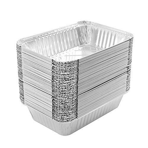 QAH 50 Stück Grills Kompatible Auffangwannen, Großpackung, Grillfettwannen, Aluminiumfolien-Auffangwannen, Einweg-Fettauffangwannen, Grill-Auffangwanne