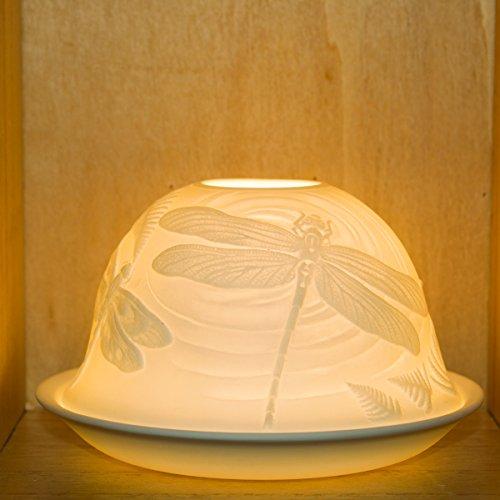 Nordic Light Lampenschirm   Libelle Teelichthalter Teller   Spitze Geschenk-Idee   Kerzenzubehör weiß, Einheitsgröße