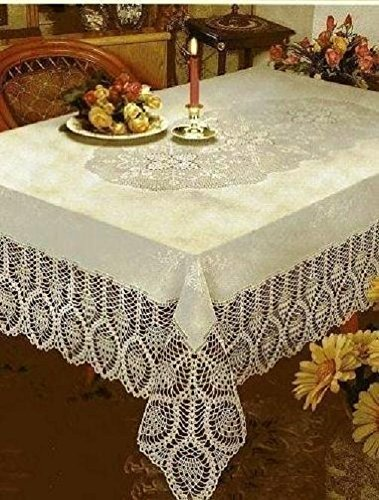 DINY American Embroidered Tablecloth Machine Washable Ideal For Formal Dinner Parties 60' x 120' Rectangular XX-Large (White)