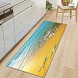 Alfombrillas Antideslizantes para Cocina con impresión de Playa 3D, Alfombrillas absorbentes para baño, Alfombrillas para el Dormitorio de la Sala de Estar del hogar A5 40x120cm