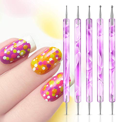 Penne dotter per nail art, Pennelli in Nail Art Gel, Penne per manicure, Nail art design dotting painting Pen/Nail Pen, Manicure Nail Art DIY Decorazione Strumento (Pink)