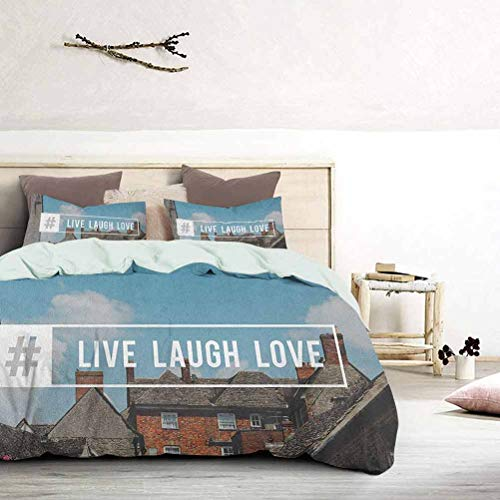 UNOSEKS LANZON Duvet Cover Set Quilt Cover Modern Pop Culture Inspired Quote with Hashtag on a Village Photography Boys Bedding Sets for Women & Men's Bedroom Multicolor, King Size