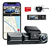 AZDOME M550 Dash Cam 3 Channel, Front Inside Rear 1440P+1080P+1080P Car Dashboard Camera Recorder, 4K+1080P Dual, 3.19' IPS, Built in WiFi GPS, IR Night Vision, Capacitor, Parking Mode, with 32GB Card