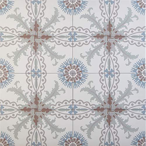 Casa Moro Mediterrane Keramikfliesen Tuana 20x20 cm 1 qm aus Feinsteinzeug in Zementoptik frostsicher   Bodenfliesen & Wandfliesen als Wand-Dekoration im Küche Flur Badezimmer   FL7013