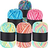 6 Pieces 50 g Crochet Yarn Multi-Colored Acrylic Knitting Yarn Hand Knitting Yarn Weaving Yarn Crochet Thread (Pink, Yellow Green, Multicolor, Blue, Red, Yellow Green Pink)