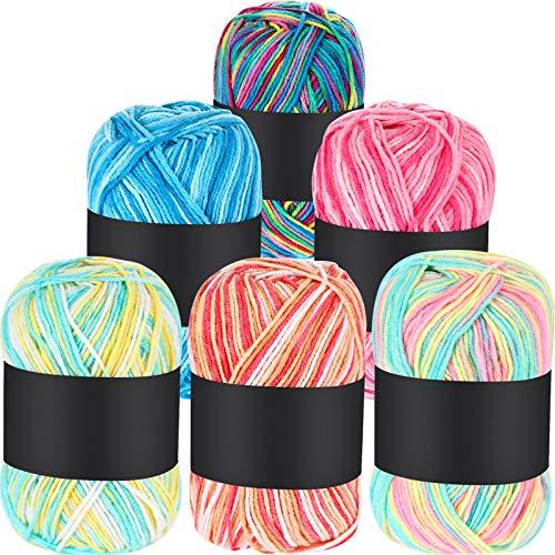 6 Piezas 50 g Hilos de Ganchillo Acrílico Multicolor Hilo Tejer Crochet Hilo Tejido a Mano (Rosa, Amarillo Verde, Multicolor, Azul, Rojo, Amarillo Verde Rosa, 3 Capas)