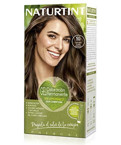 Naturtint   Coloración sin amoniaco   100% cobertura de canas   Ingredientes vegetales   Color natural y duradero   5G Castaño Claro Dorado   170ml