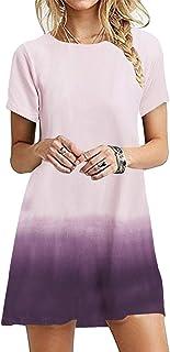 OMZIN - Vestido de mujer de manga corta, informal, de corte redondo, en tallas grandes, de 2XS a 5XL Jb-rosa. XL