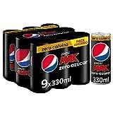 Pepsi Max Zero Cafeína 330ml - Refresco de Cola con Zero Azúcar, Pack de 9