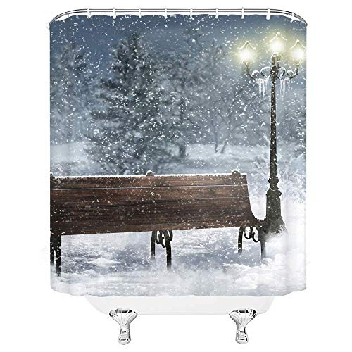 N / A Fantasie Duschvorhang Zauberwald Vollmond Stern Vintage Boot Nachtansicht Home Badezimmer Dekor Schnelltrocknenden Stoff Vorhang mit 12 Haken , Marineblau