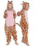 CASABACO Kid Giraffe Onesie Costume Girl Halloween Animal Cosplay Onepiece Pajama, Brown, 130