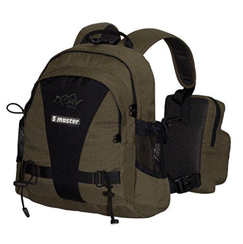 Daypack Rucksack TASHEV S-Master Angelrucksack für Sportfischen BackChest-Tragesystem (Grün)