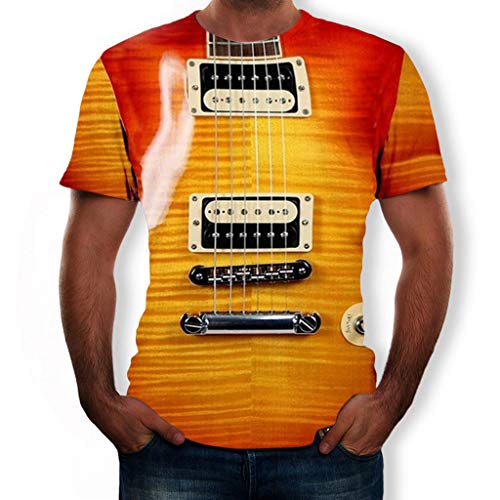 Azruma Herren Kurzarm T-Shirts Sommer 3D Druck Sweatshirt Kurzarmhemd Slim Motive T-Shirts Tees Top Rundhals Casual Kurzarm Männer Hemd Neuheit Realistisch Gitarre Muster Shirt