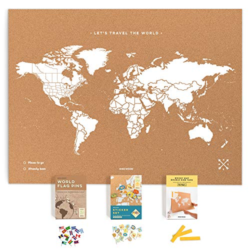 Push Pin Travel Map Kit Includes: Cork World Travel Map, World Flags, Food Stickers, for Travelers (White, L (17.7 x 23.6 inches))