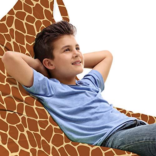 ABAKUHAUS Tonen van de aarde Zitzak, Giraffe Skin Print, Veel Ruimte om Zacht Speelgoed als Knuffels in op te Bergen, met Handvat, Kaneel en Beige