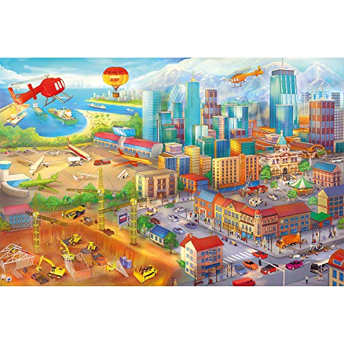 GREAT ART Fototapete Kinderzimmer – Comic Style – Wandbild Dekoration Wimmelbild Großstadt Baustelle Hubschrauber Flugzeug Bagger FlughafenFoto-Tapete Wandtapete Fotoposter (210 x 140 cm)