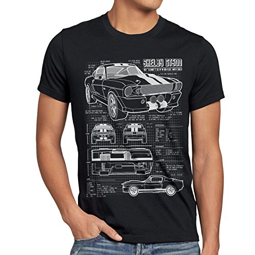 style3 GT 500 Blaupause T-Shirt Herren Mustang, Größe:L, Farbe:Schwarz