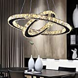LED Chandelier Modern Contemporary 2 Rings Pendant Light Adjustable Stainless Steel Crystal Ceiling Lighting Fixture for Bedroom Living Room Dining Room (Warm White)