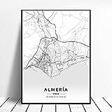 Weijiajia Mapa de la Ciudad en Blanco y Negro del Mundo Puerto De La Cruz Sabadell Las Palmas Sevilla Almería Zaragoza España Póster de Lienzo 40x50cm F-723
