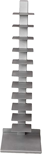 Premium Spine Book Tower Metal Floor Shelves Silver