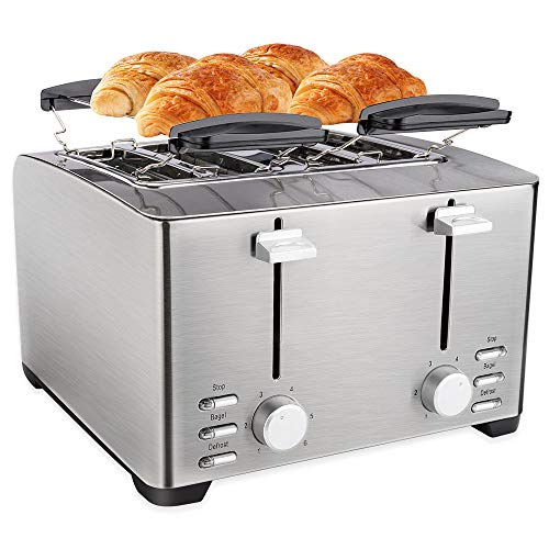 Schloß 4 Slice Toaster, Extra Wide Slot for Bread, Stainless Steel,Warming Rack, 6 Shade Settings, Bagel/Defrost/Cancel with Removal Crumb Tray (THT-3012D)