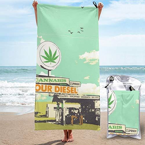 Toalla de playa Sour Diesel de secado rápido, toallas de viaje ligeras para la natación, deportes, playa, gimnasio, 31.5 x 63 pulgadas