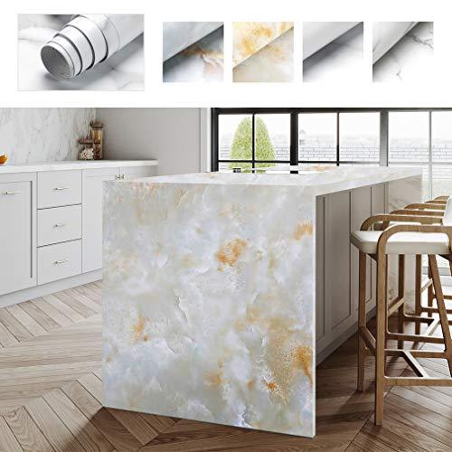 PROHOUS Möbelaufkleber Klebefolie Mobelfolie 61 x 500CM Marmor Tapete PVC Marmorfolie Aufkleber Selbstklebende Granit küchenschrank Folie Dekorfolie für Möbel Küche Kommode Verschleißfest (Type B)