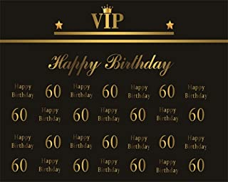 AOFOTO 10x8ft Happy 60th Birthday Backdrop for Men Women VIP Pattern Golden Crown Black Background for Photography Grandfather Old Ladies Sixty Bday Party Decoration Wallpaper Photo Studio Props