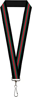 Buckle-Down Lanyard - Stripe Black/Green/Red