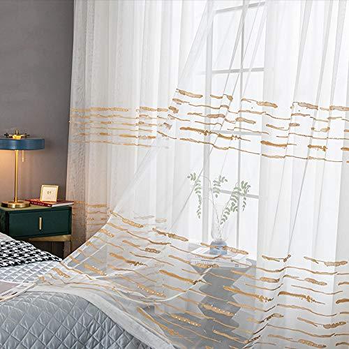Zshhy - Cortina de tul blanco con hilo bordado dorado para dormitorio, cortinas de ventana, acabado de rayas, gris (parte superior con ganchos), color blanco