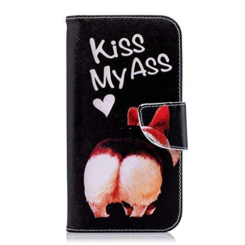 Uposao Kompatibel mit Handyhülle Huawei P20 Leder Tasche Schutzhülle Handytasche Brieftasche Ledertasche Lederhülle Bunt Muster Klapphülle Book Case Schutzhülle Flip Cover,Katze