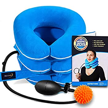 Cervical Neck Traction Device by NeckFix for Instant Neck Pain Relief - Adjustable Neck Stretcher Collar for Home Traction Spine Alignment [Model 2019] + Bonus  12-17 inch