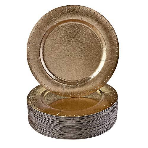 Silver Spoons 1889-SiS Conjunto Redondas Desechables | 20 Bandejas de cartón Resistente | Elegante Acabado Plateado Bodas y Comidas de Lujo-Metálico/Ribetes Dorados, Paper, 20 PC