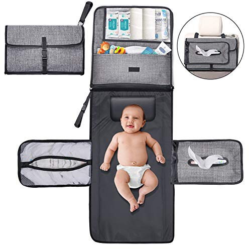 Gimars 6 Large Capacity Pockets Portable Diaper Changing Pad, Easily Cleanable & Waterproof Detachable Lengthened Mobile Changing Station, Perfect Baby Shower Gifts, Newborns Essentials