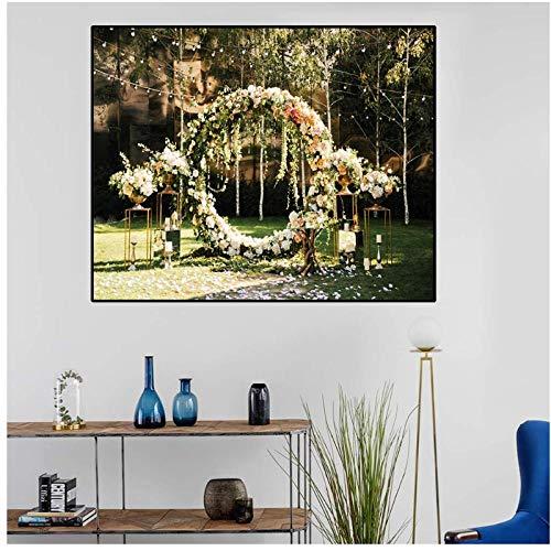 Decoratieve wanddecoratie op canvas voor de tuin, slinger, borden en prints voor de woonkamer, bruiloft, decoratie, muurkunst, afbeelding 50 x 70 cm (zonder lijst)