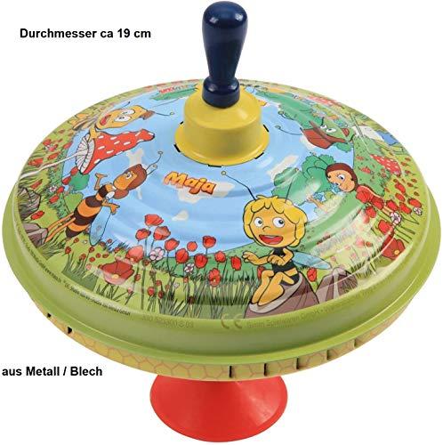 wuselwelt 5050, Metall Brummkreisel Biene Maja, D. 19 cm, Blech Schwungkreisel, Musikkreisel, Spielzeugkreisel, Blechkreisel