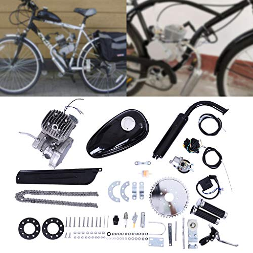 Fiudx Bicycle Motor, 80cc Bicycle Engine Kit 2 Stroke Petrol Gas Motorized Engine Kit Set Bike Motor Kit Bicycle Engine Kit