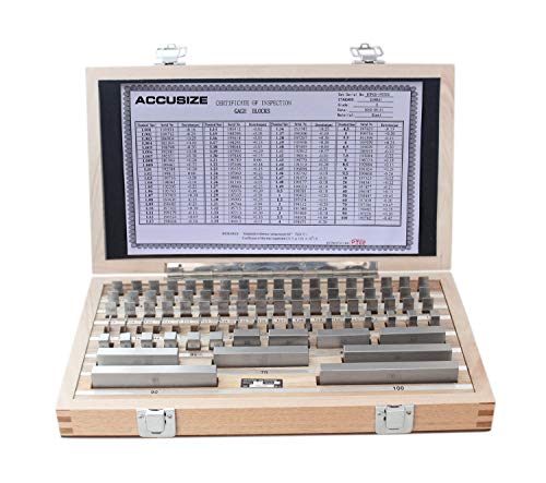 Accusize Industrial Tools 87 Pc Metric Gage Block Set, Grade 2, Din861 Germany Standard with Mfg's Certificate, 0087-2160