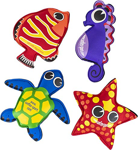 Sunflex Splash Puppies - Floating Neoprene Water Toy Set of Four That Includes 1 Starfish, 1 Turtle, 1 Fish, and 1 Seahorse - Waterproof and UV Resistant Pool Toy