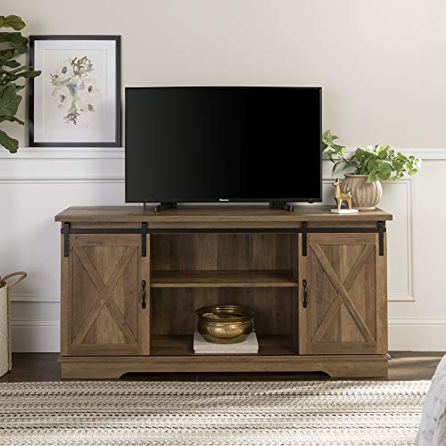 Walker Edison Furniture Company Modern Farmhouse Sliding Barndoor Wood Stand for TV's up to 65' Flat Screen Cabinet Door Living Room Storage Entertainment Center, 28 Inches Tall, Reclaimed Barnwood