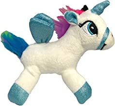 Puka Creations LLC White Rainbow Unicorn with Shimmering Wings Stuffed Animal Musical Sound Plush Toy Backpack Clip Key Chain