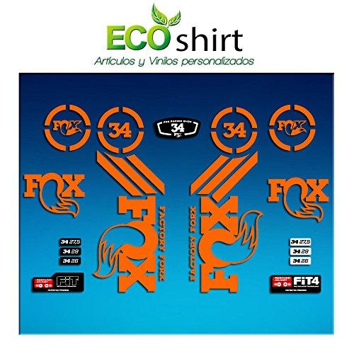 Ecoshirt Q9-UBE5-H3Q4 Autocollants Fork Fox 34 Am64 Autocollants Fourche Gabel Fourche Orange