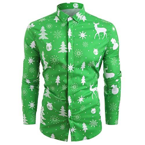 VRTUR 2019 Pull Noël Imprimé Créatif Renne Sweat Shirt ManteauChemise décontractée pour Hommes avec Motifs de Flocons de Neige décontractés Santa Candy pour Noël