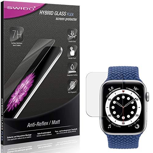 SWIDO Panzerglas Schutzfolie kompatibel mit Apple Watch Series 6 (44mm) Displayschutz Folie und Glas = biegsames HYBRIDGLAS, splitterfrei, MATT, Anti-Reflex - entspiegelnd