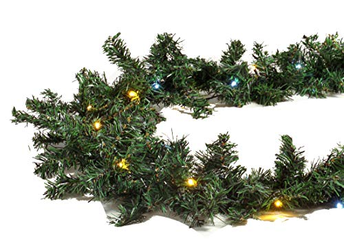 Gartenpirat Tannengirlande 8,1 m mit 120 LED-Mix kaltweiß/warmweiß beleuchtet für Weihnachten